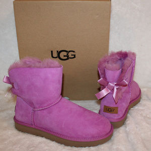 UGG MINI BAILEY BOW SUEDE SHEARLING BOOTS PINK 8 9